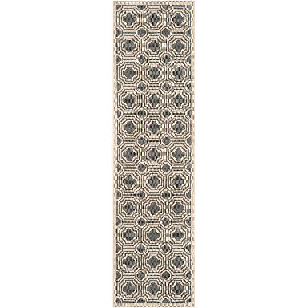 Safavieh Tapis de passage d'intérieur/extérieur, 2 pi 3 po x 8 pi, Courtyard Anton, anthracite / beige