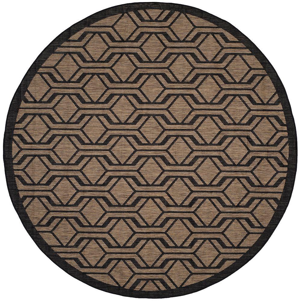 Safavieh Courtyard Gail Brown / Black 7 ft. 10-inch x 7 ft. 10-inch Round Indoor Area Rug