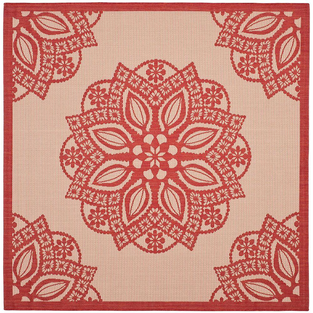 Safavieh Tapis d'intérieur/extérieur carré, 6 pi 7 po x 6 pi 7 po , Courtyard Elmer, beige / rouge