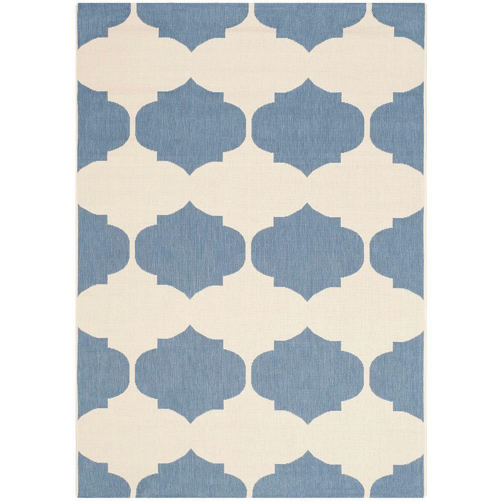 Safavieh Tapis d'intérieur/extérieur carré, 5 pi 3 po x 5 pi 3 po, Courtyard Irene, beige / bleu