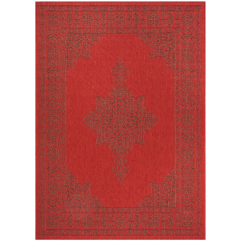 Safavieh Courtyard Duana Red / Chocolate 5 ft. 3-inch x 7 ft. 7-inch Indoor Area Rug
