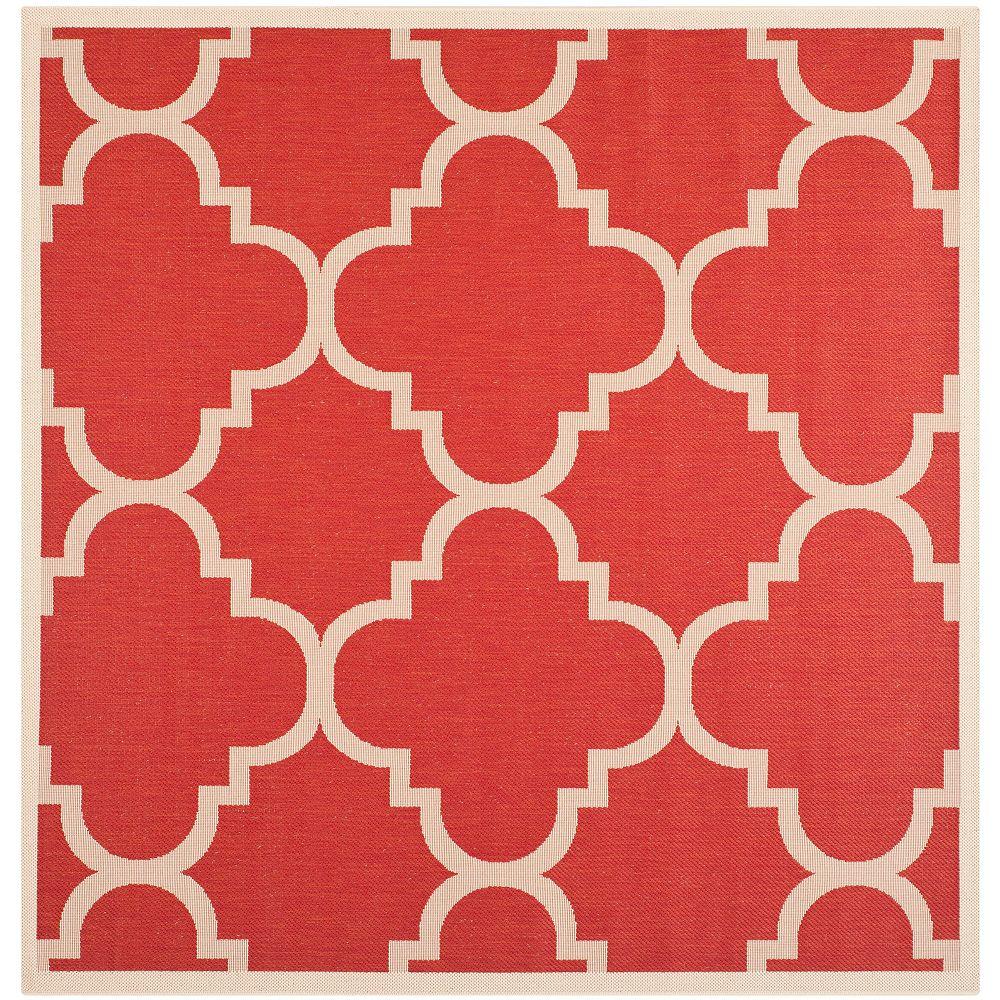 Safavieh Tapis d'intérieur/extérieur carré, 5 pi 3 po x 5 pi 3 po, Courtyard Alex, rouge
