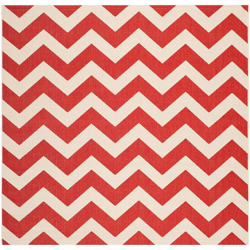 Safavieh Courtyard Jax Red 4 ft. x 4 ft. Square Indoor Area Rug