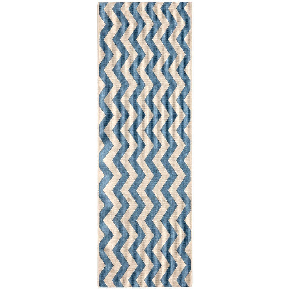 Safavieh Tapis de passage d'intérieur/extérieur, 2 pi 3 po x 10 pi, Courtyard Jim, bleu / beige