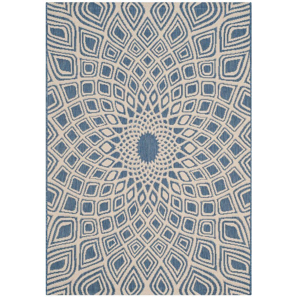 Safavieh Tapis d'intérieur/extérieur, 4 pi x 5 pi 7 po, Courtyard Jayden, bleu / beige