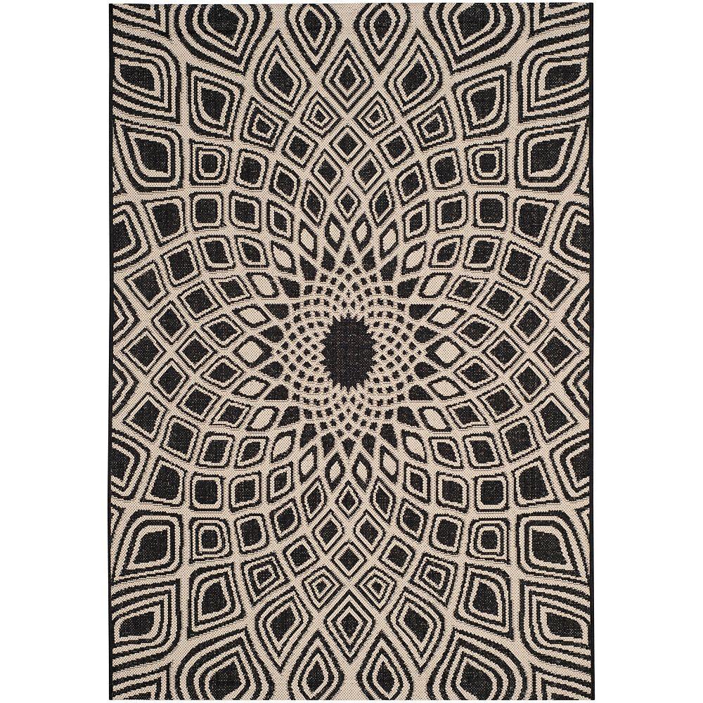 Safavieh Courtyard Jayden Black / Beige 4 ft. x 5 ft. 7-inch Indoor Area Rug