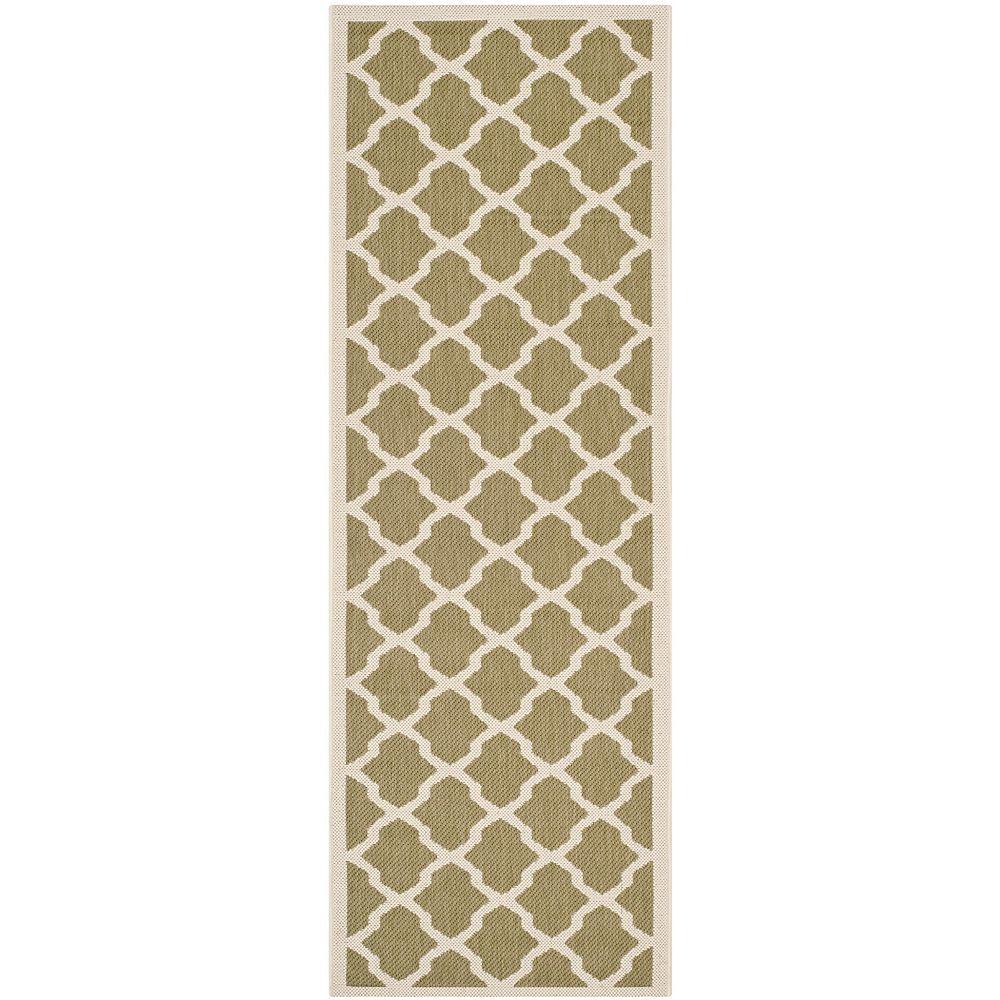 Safavieh Tapis de passage d'intérieur/extérieur, 2 pi 3 po x 10 pi, Courtyard Kylo, vert / beige