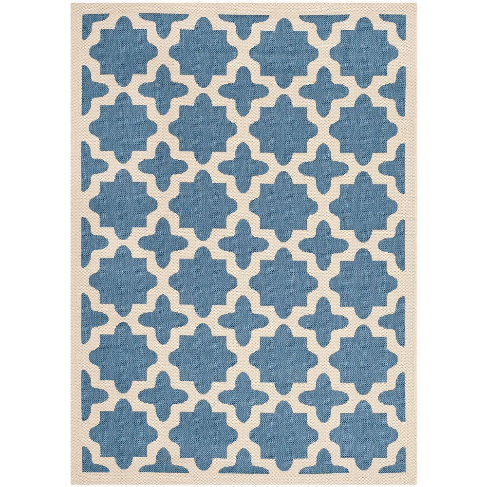 Safavieh Tapis d'intérieur/extérieur, 4 pi x 5 pi 7 po, Courtyard Nick, bleu / beige
