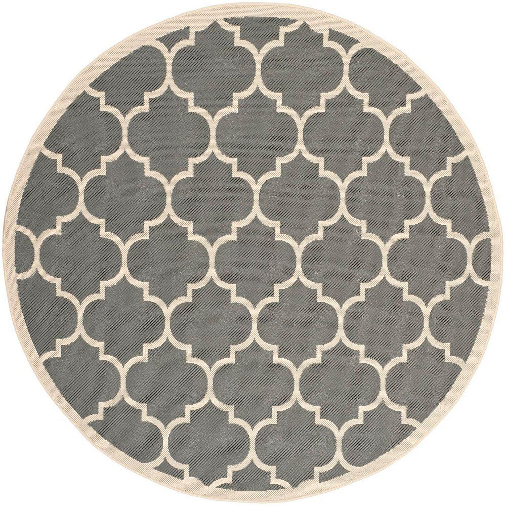 Safavieh Tapis d'intérieur/extérieur rond, 4 pi x 4 pi, Courtyard Sefton, anthracite / beige