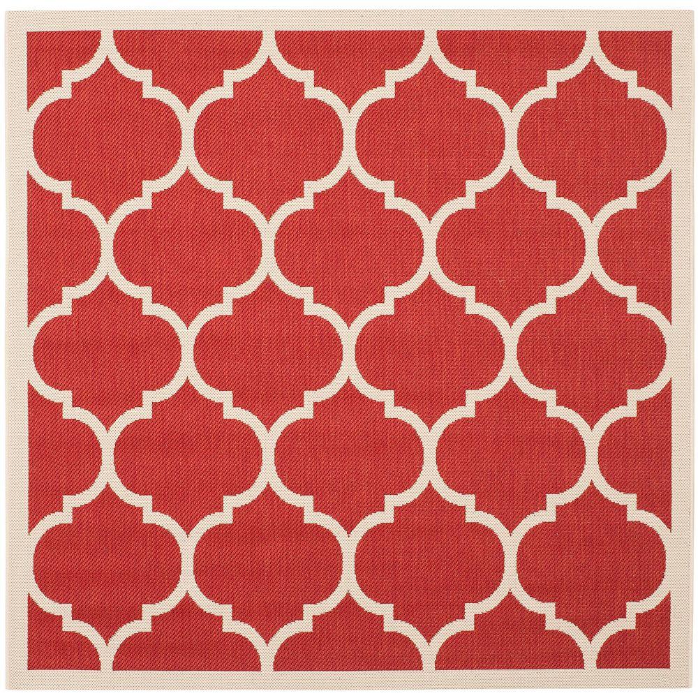 Safavieh Tapis d'intérieur/extérieur carré, 7 pi 10 po x 7 pi 10 po, Courtyard Sefton, rouge / bone