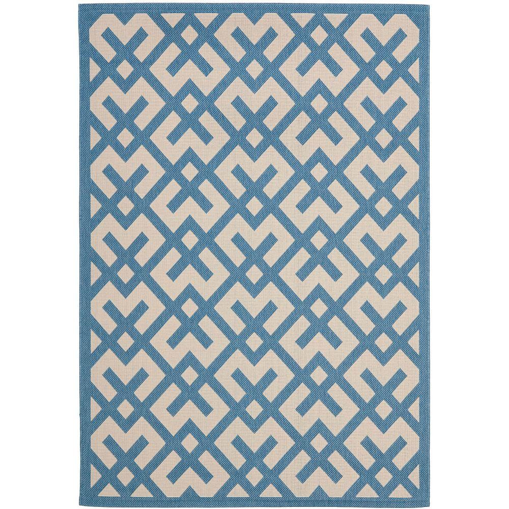 Safavieh Tapis d'intérieur/extérieur, 8 pi x 11 pi, Courtyard Leia, beige / bleu