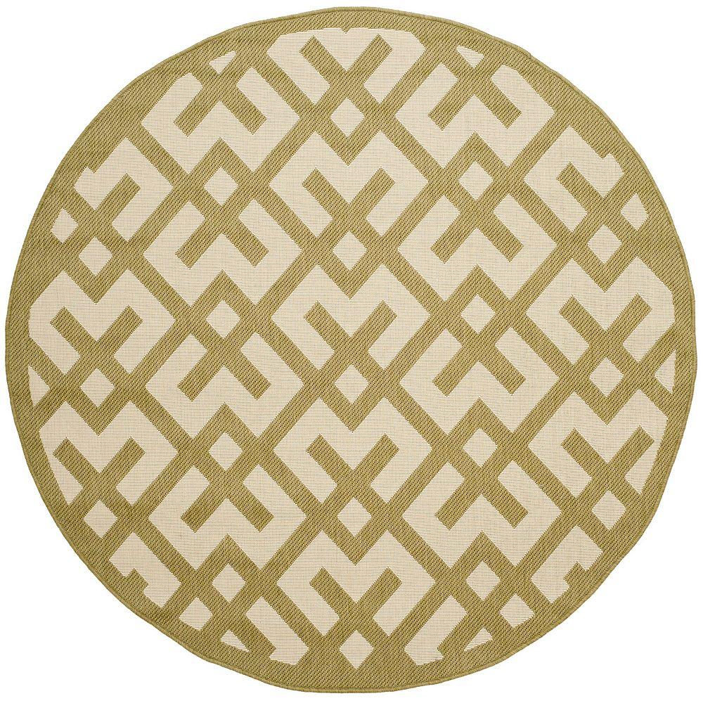 Safavieh Tapis d'intérieur/extérieur rond, 5 pi 3 po x 5 pi 3 po, Courtyard Leia, beige / vert