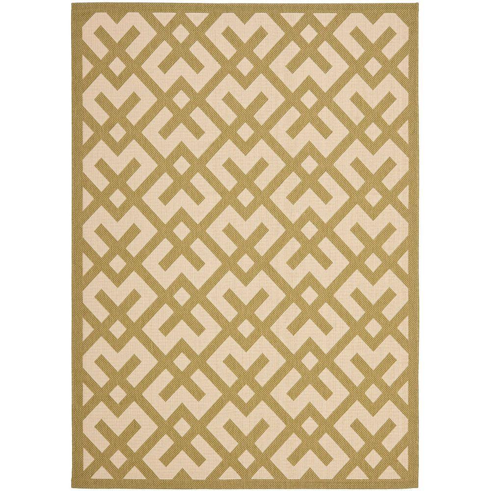 Safavieh Tapis d'intérieur/extérieur, 8 pi x 11 pi, Courtyard Leia, beige / vert