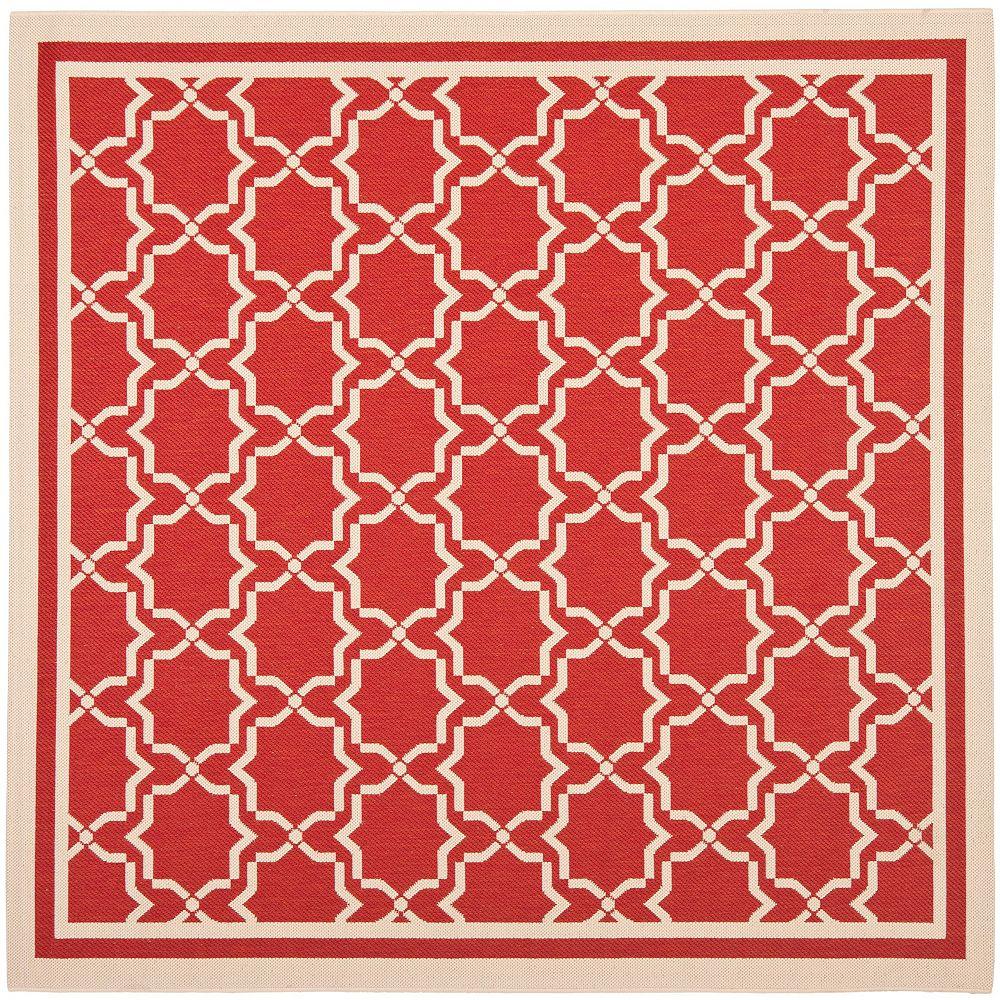 Safavieh Tapis d'intérieur/extérieur carré, 6 pi 7 po x 6 pi 7 po , Courtyard Jaron, rouge / bone