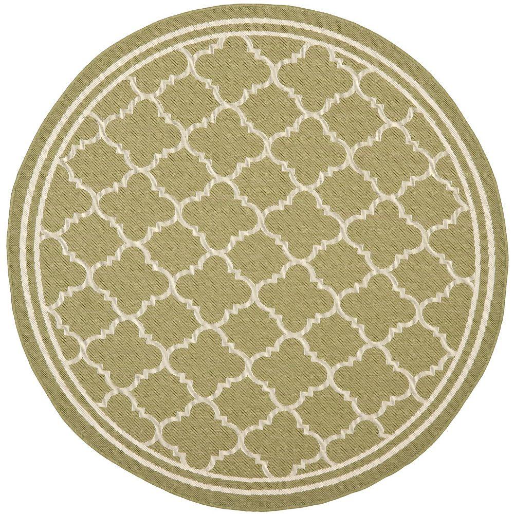 Safavieh Tapis d'intérieur/extérieur rond, 4 pi x 4 pi, Courtyard Sherry, vert / beige