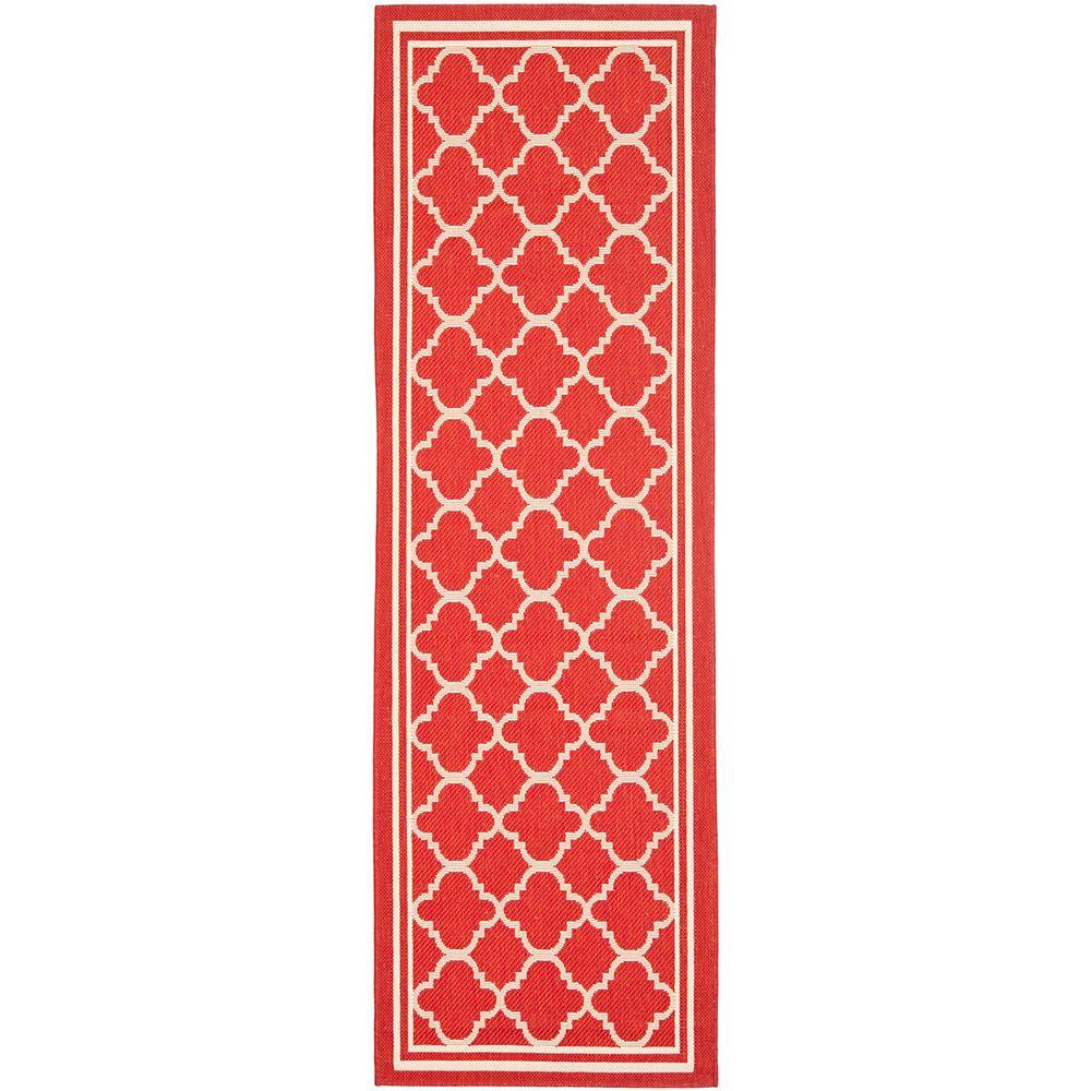 Safavieh Tapis de passage d'intérieur/extérieur, 2 pi 3 po x 20 pi, Courtyard Sherry, rouge / bone