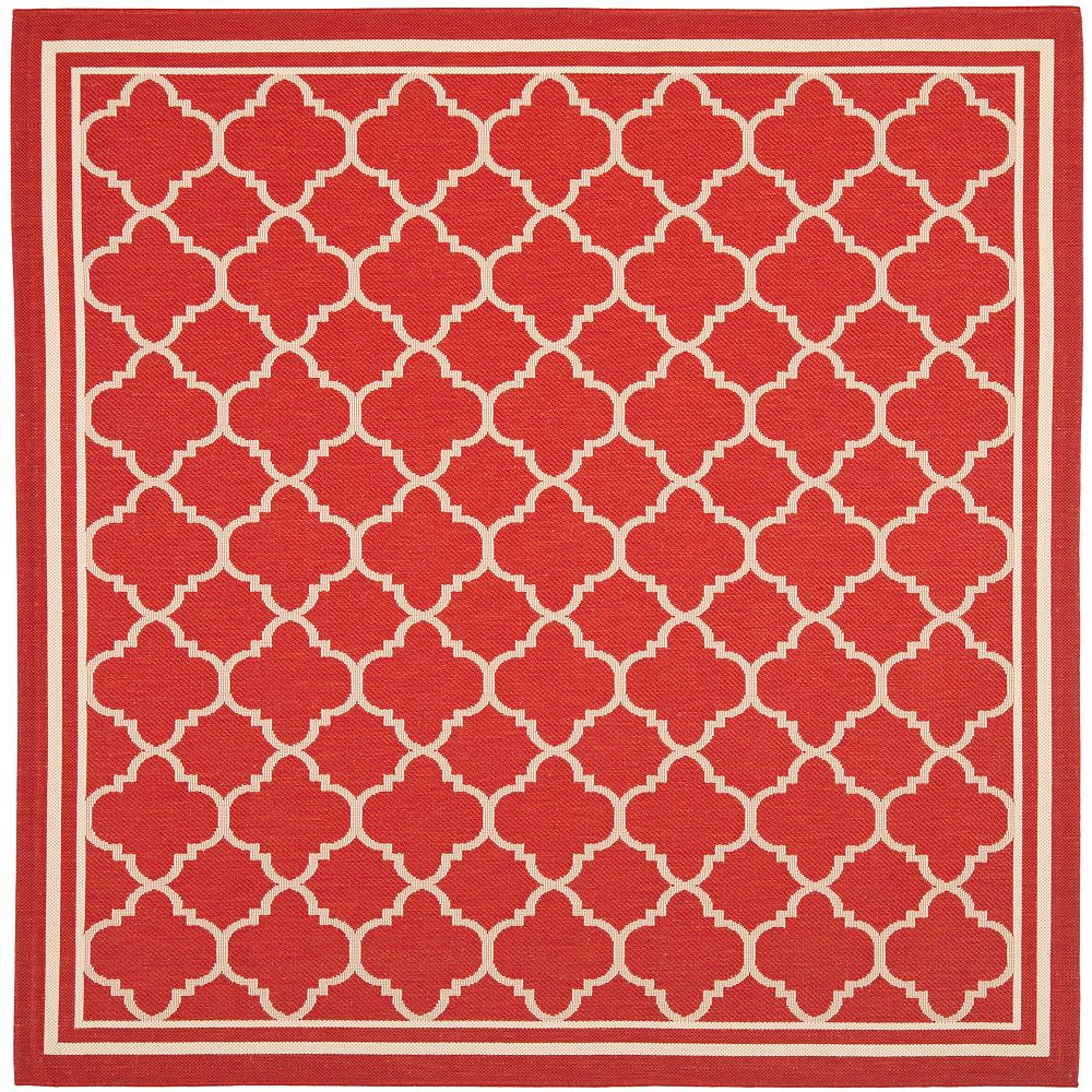 Safavieh Tapis d'intérieur/extérieur carré, 7 pi 10 po x 7 pi 10 po, Courtyard Sherry, rouge / bone
