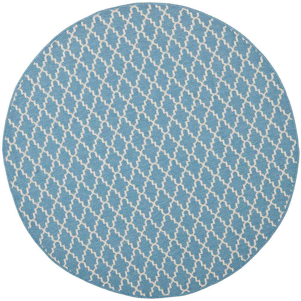 Safavieh Tapis d'intérieur/extérieur rond, 5 pi 3 po x 5 pi 3 po, Courtyard Jay, bleu / beige