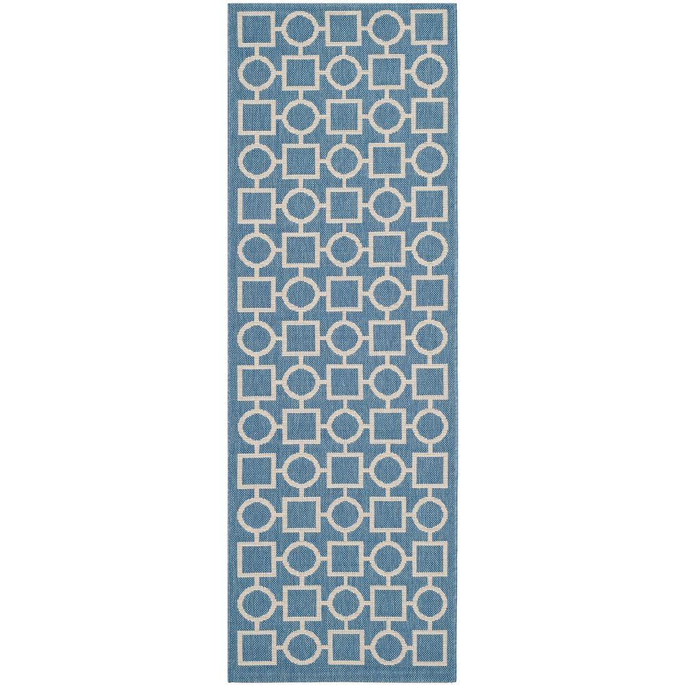 Safavieh Tapis de passage d'intérieur/extérieur, 2 pi 3 po x 6 pi 7 po, Courtyard Lind, bleu / beige
