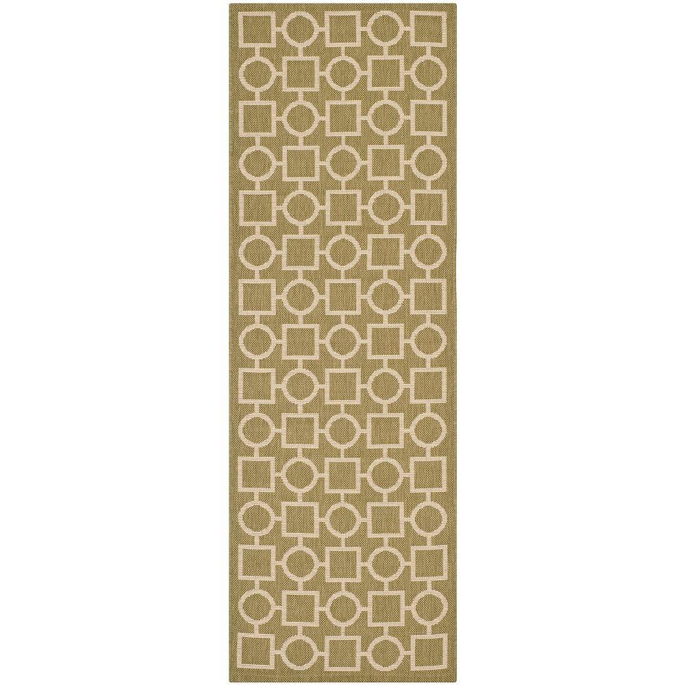 Safavieh Tapis de passage d'intérieur/extérieur, 2 pi 3 po x 6 pi 7 po, Courtyard Lind, vert / beige