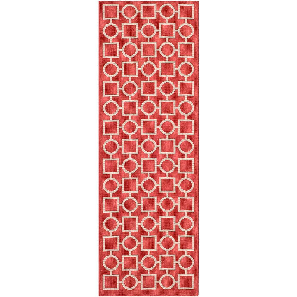 Safavieh Tapis de passage d'intérieur/extérieur, 2 pi 3 po x 6 pi 7 po, Courtyard Lind, rouge / bone