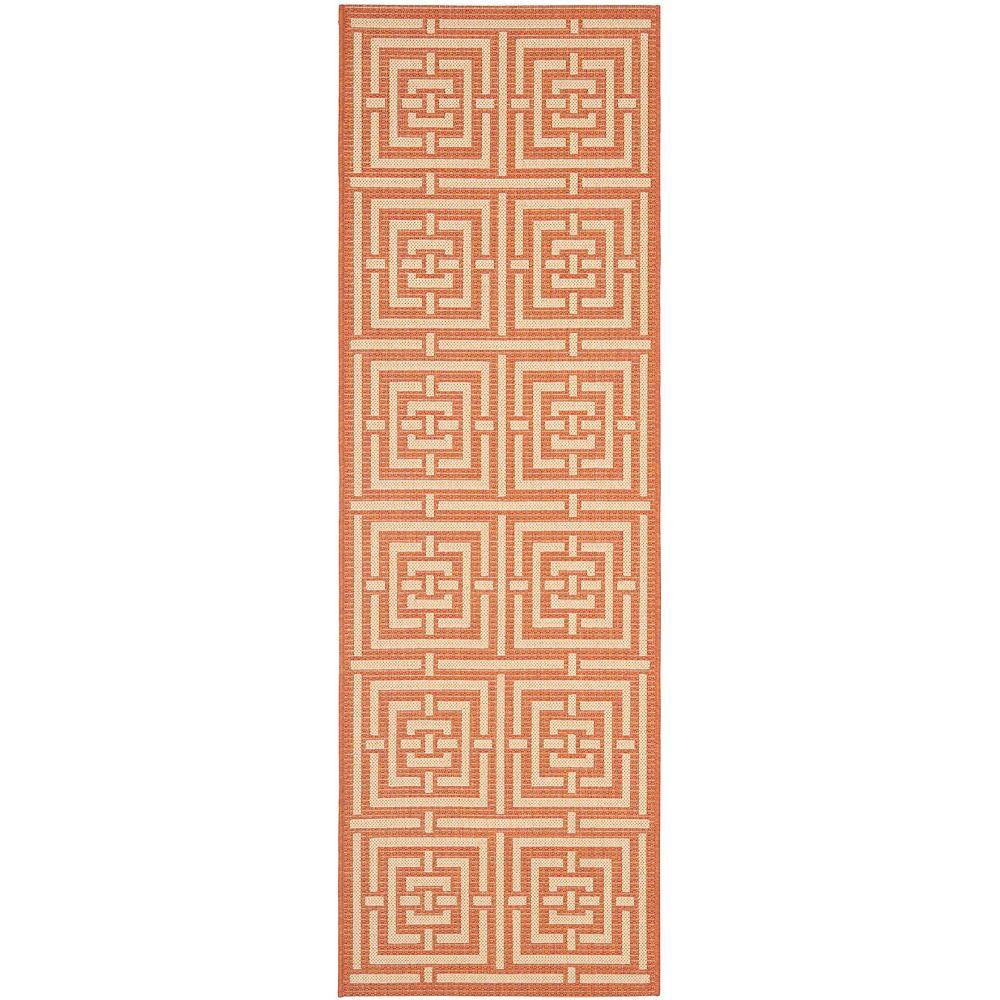 Safavieh Courtyard Paul Terracotta / Cream 2 ft. 3-inch x 6 ft. 7-inch Indoor Runner