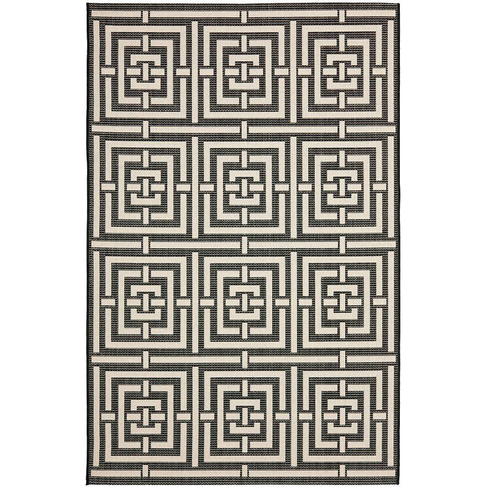 Safavieh Tapis d'intérieur/extérieur, 8 pi x 11 pi, Courtyard Paul, noir / ivoire