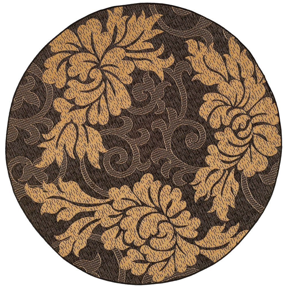 Safavieh Courtyard Cemal Black / Natural 6 ft. 7-inch x 6 ft. 7-inch Round Indoor Area Rug