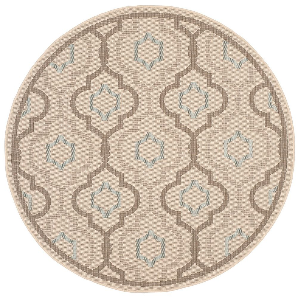 Safavieh Tapis d'intérieur/extérieur rond, 6 pi 7 po x 6 pi 7 po, Courtyard Li, beige / aqua