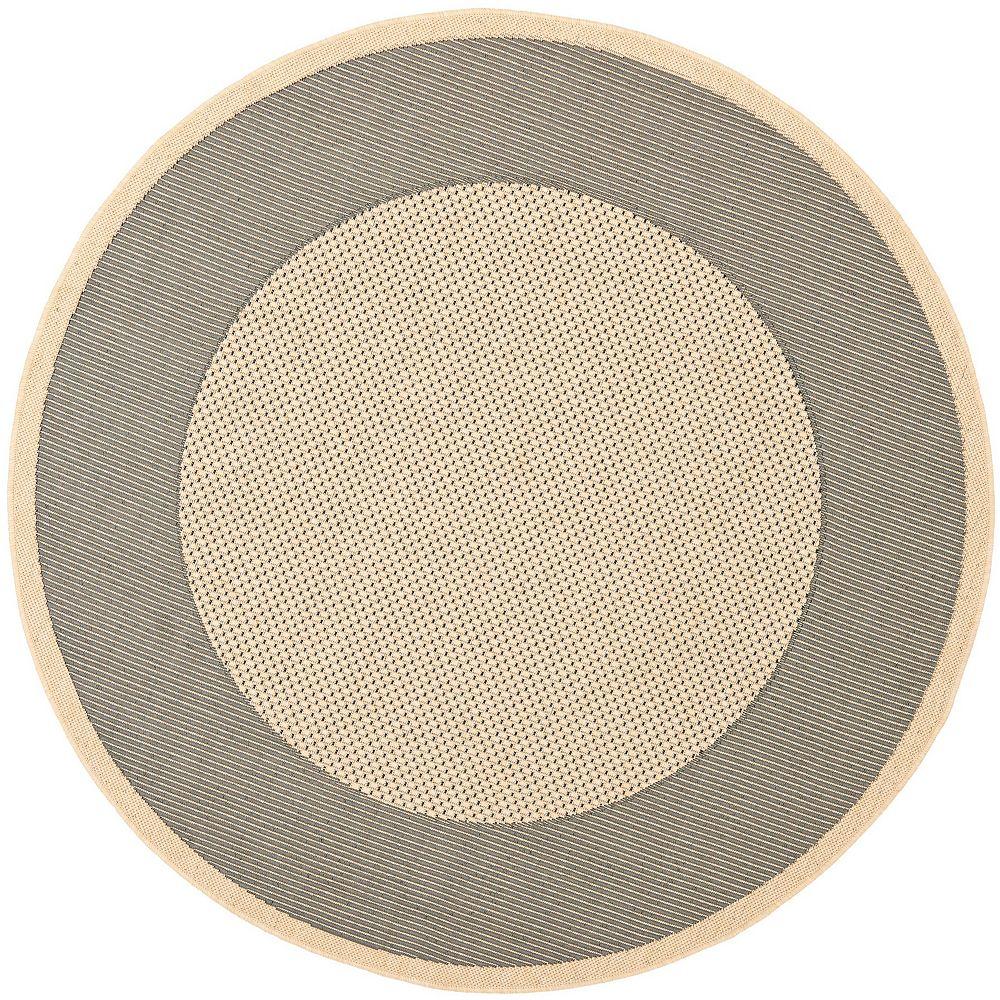 Safavieh Tapis d'intérieur/extérieur rond, 6 pi 7 po x 6 pi 7 po, Courtyard Nino, gris / crème