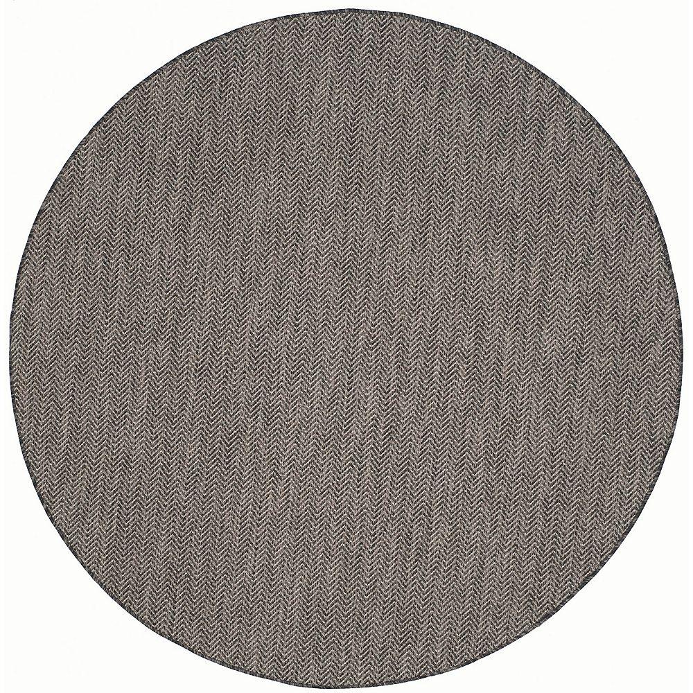 Safavieh Tapis d'intérieur/extérieur rond, 6 pi 7 po x 6 pi 7 po, Courtyard Molly, noir / beige