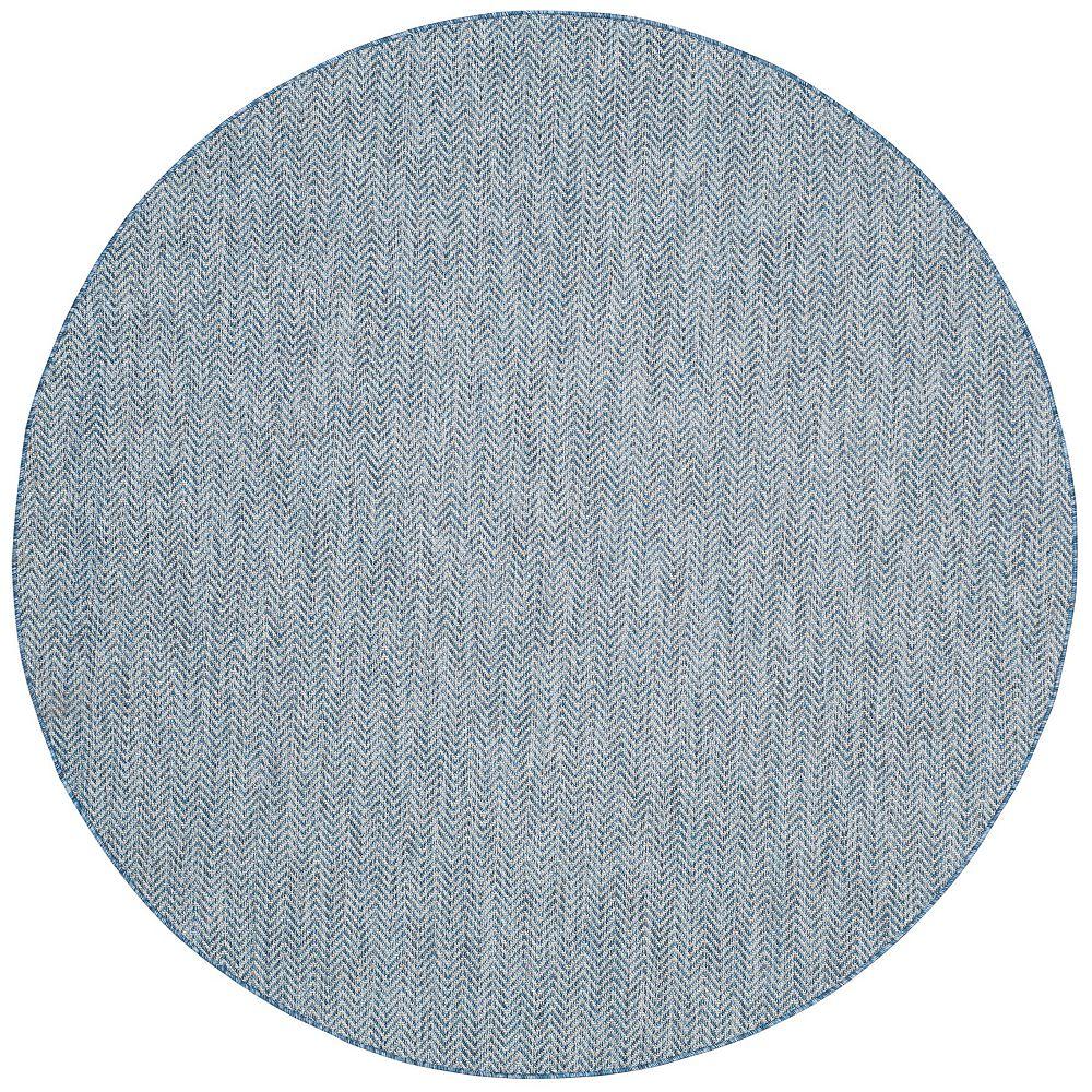 Safavieh Tapis d'intérieur/extérieur rond, 6 pi 7 po x 6 pi 7 po, Courtyard Molly, marin / gris