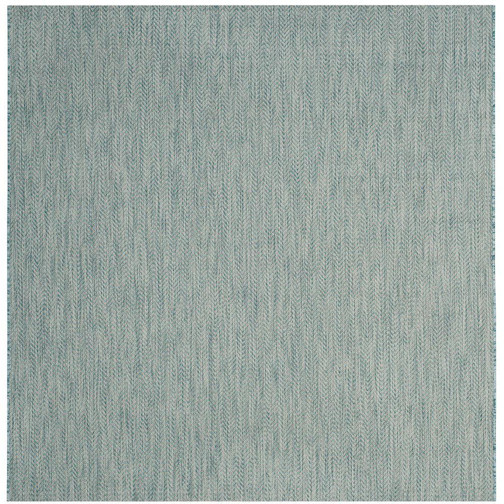 Safavieh Tapis d'intérieur/extérieur carré, 6 pi 7 po x 6 pi 7 po , Courtyard Molly, aqua / gris