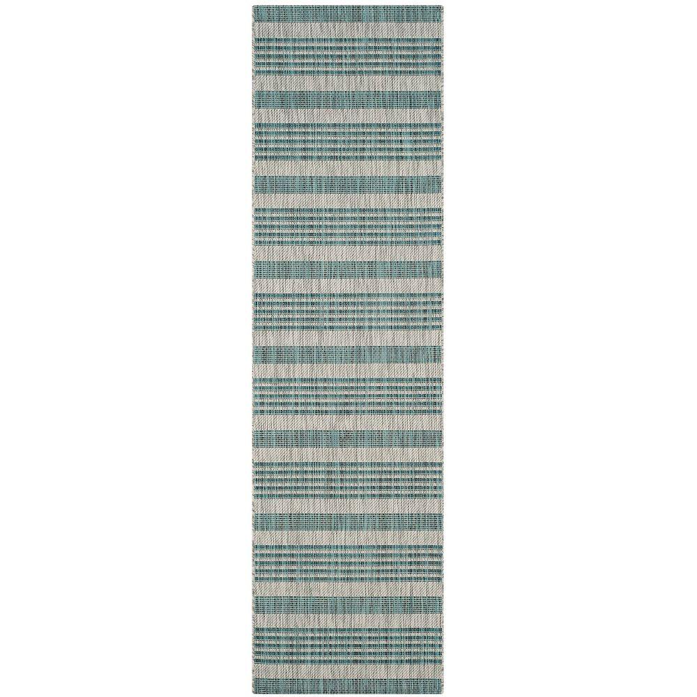 Safavieh Tapis de passage d'intérieur/extérieur, 2 pi 3 po x 8 pi, Courtyard Corrine, gris / bleu