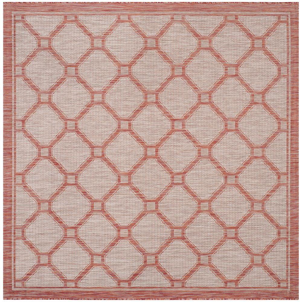 Safavieh Tapis d'intérieur/extérieur carré, 6 pi 7 po x 6 pi 7 po , Courtyard Milo, rouge / beige