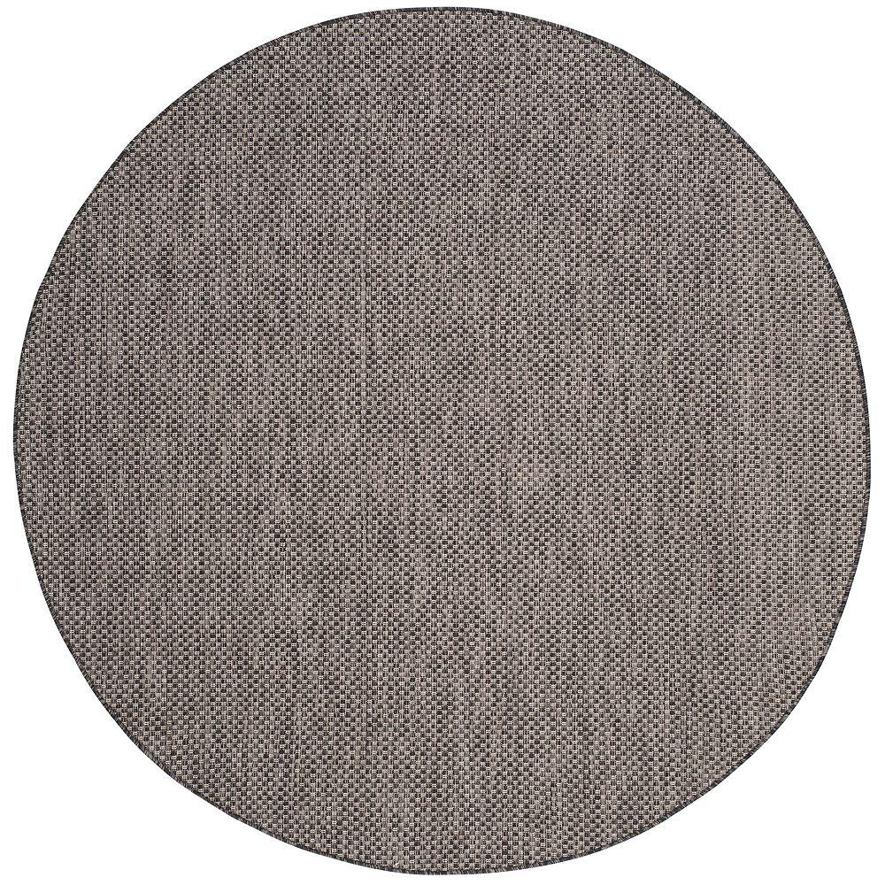 Safavieh Tapis d'intérieur/extérieur rond, 6 pi 7 po x 6 pi 7 po, Courtyard Neal, noir / beige