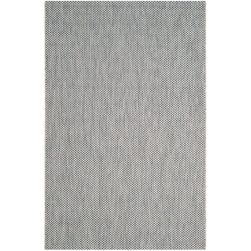 Safavieh Tapis d'intérieur/extérieur, 4 pi x 5 pi 7 po, Courtyard Neal, gris / marin