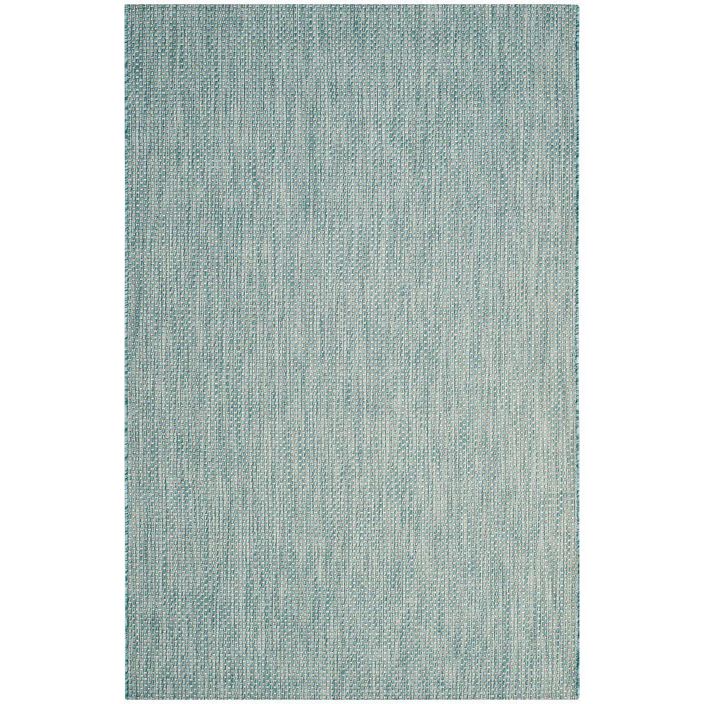 Safavieh Courtyard Neal Aqua / Grey 6 ft. 7-inch x 9 ft. 6-inch Indoor Area Rug
