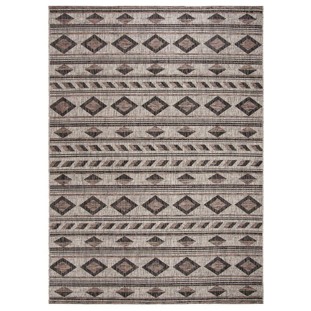 Safavieh Tapis d'intérieur/extérieur, 8 pi x 11 pi, Courtyard Mendoza, gris / noir