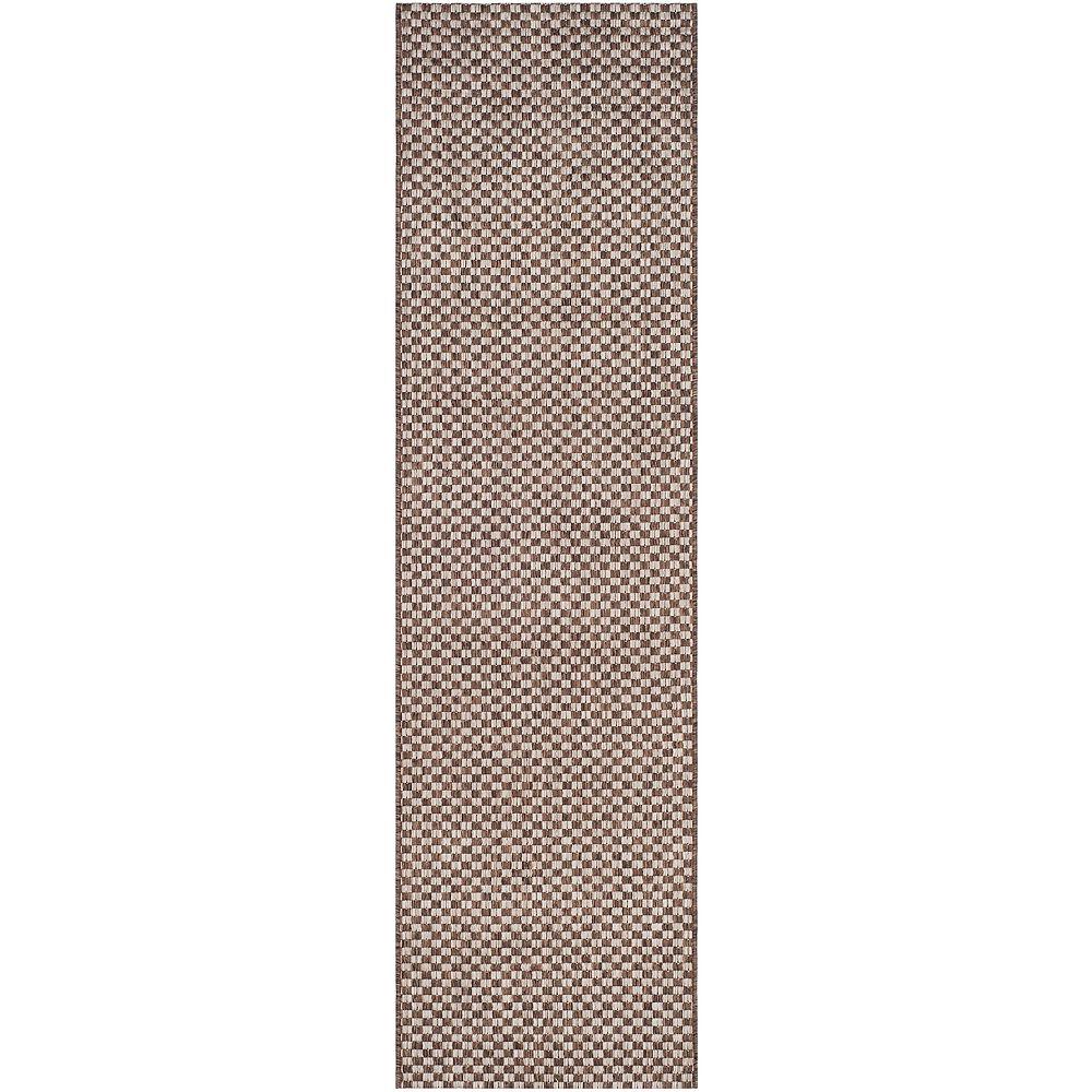 Safavieh Tapis de passage d'intérieur/extérieur, 2 pi 3 po x 8 pi, Courtyard Maxwell, brun clair / gris clair
