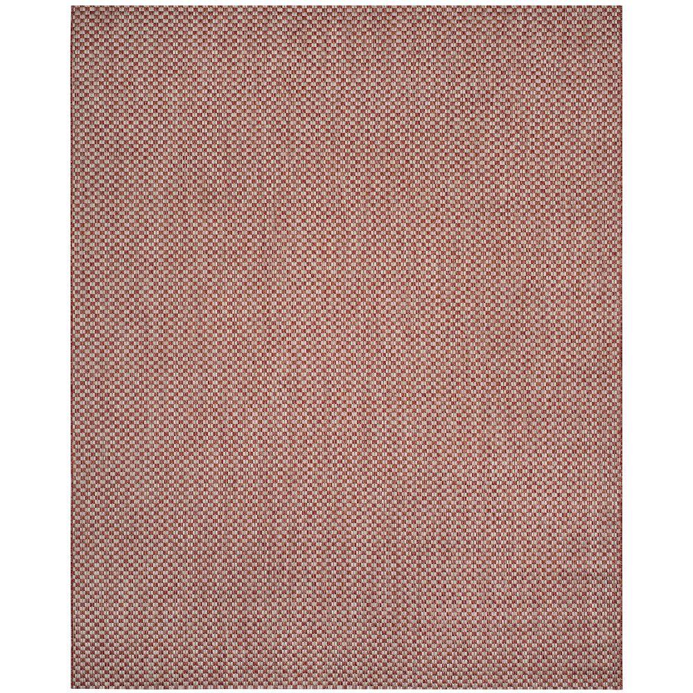 Safavieh Tapis d'intérieur/extérieur, 8 pi x 11 pi, Courtyard Maxwell, brun foncé / gris clair