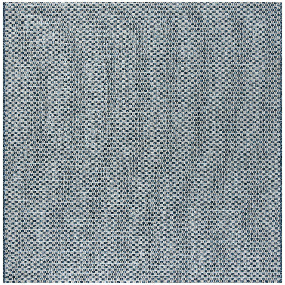 Safavieh Tapis d'intérieur/extérieur carré, 6 pi 7 po x 6 pi 7 po , Courtyard Maxwell, bleu / gris clair