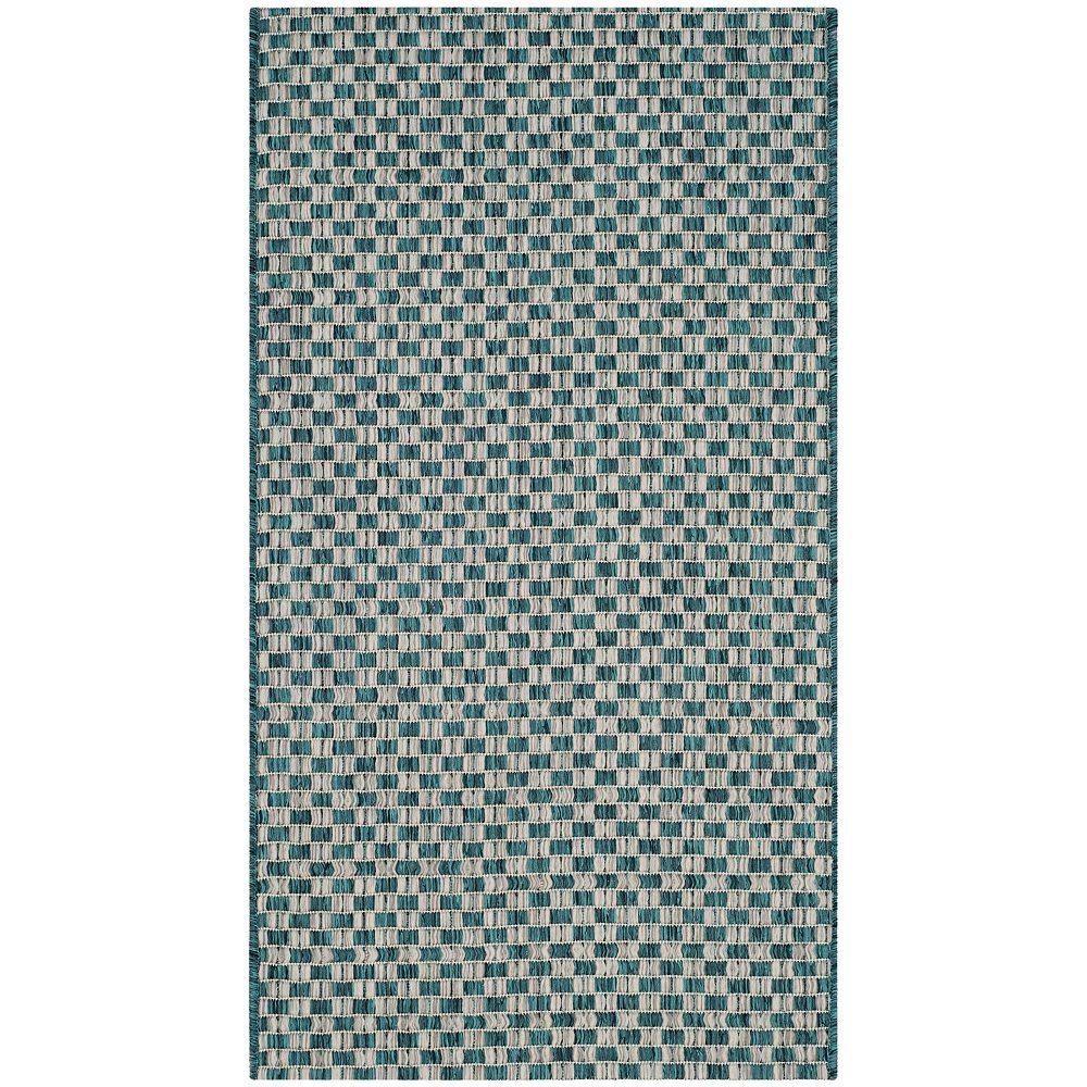 Safavieh Tapis d'intérieur/extérieur, 2 pi x 3 pi 7 po, Courtyard Maxwell, turquoise / gris clair