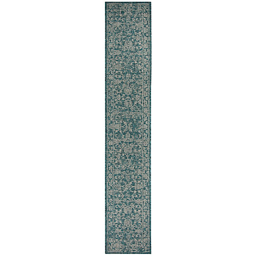 Courtyard Giuseppe Turquoise 2 ft. 3-inch x 6 ft. 7-inch Indoor Runner