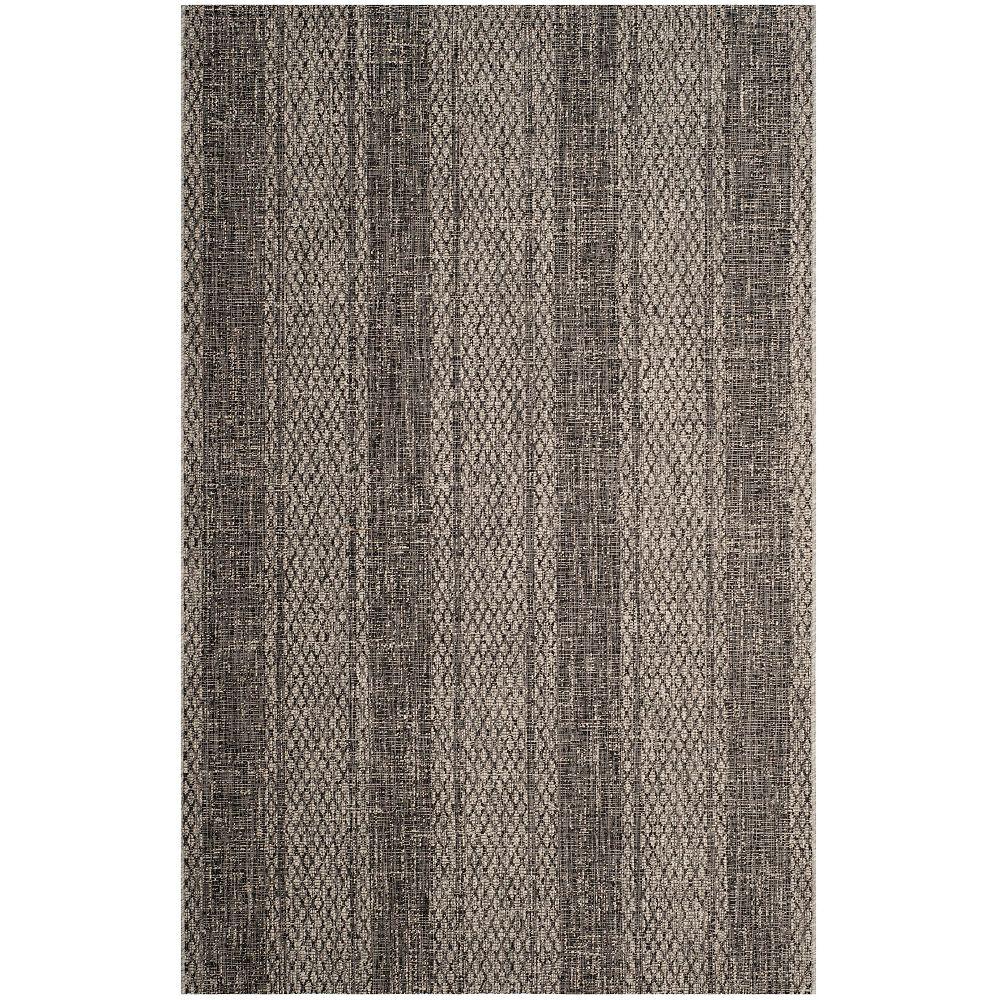 Safavieh Tapis d'intérieur/extérieur, 5 pi 3 po x 7 pi 7 po, Courtyard Quintella, gris clair / noir