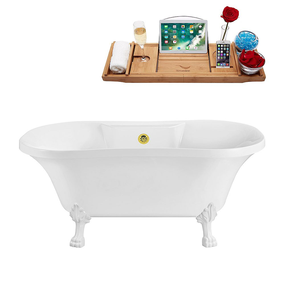 Streamline 68-inch  N101WH-GLD Soaking Clawfoot Tub and Tray With External Drain