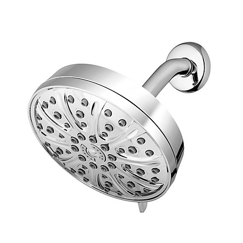 6 Spray Rain Shower Head with PowerPulse Massage in Chrome