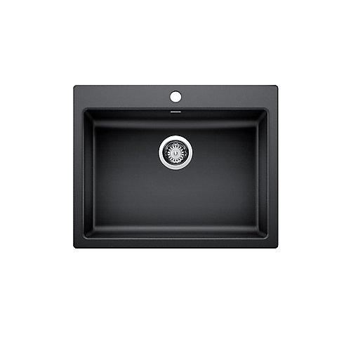 PRECIS SINGLE 25 ADA/CSA, Wheelchair Accessible Dual-Mount Kitchen Sink, SILGRANIT Anthracite