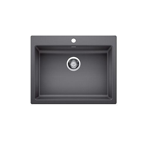 PRECIS SINGLE 25 ADA/CSA, Undermount or Drop-in (Dual-mount) Kitchen Sink, SILGRANIT Cinder