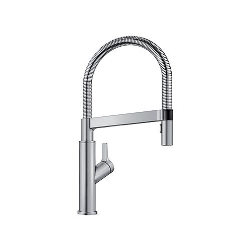 SOLENTA, Semi-professional Pull-down Kitchen Faucet, 1.5 GPM (Dual-spray), Stainless Finish